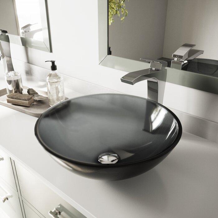 Lavabo de salle de bain vasque circulaire en verre