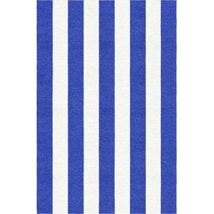 Waterhouse Stripe Hand-Woven Wool Blue/White Area Rug ByBreakwater Bay