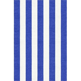 Top Reviews Waterhouse Stripe Hand-Woven Wool Blue/White Area Rug ByBreakwater Bay