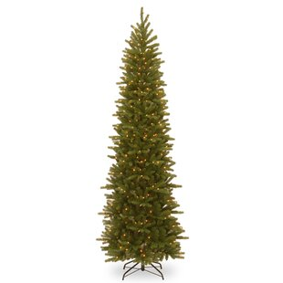 Grande Feel Real Pencil Slim 9' Green Fir Artificial Christmas Tree with 500 Clear Lights with Stand