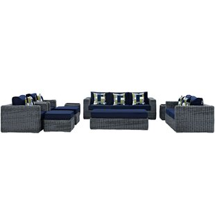 Keiran 9 Piece Sunbrella Sofa Set with Cushions