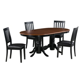 Andrea 5 Piece Extendable Solid Wood Dining Set