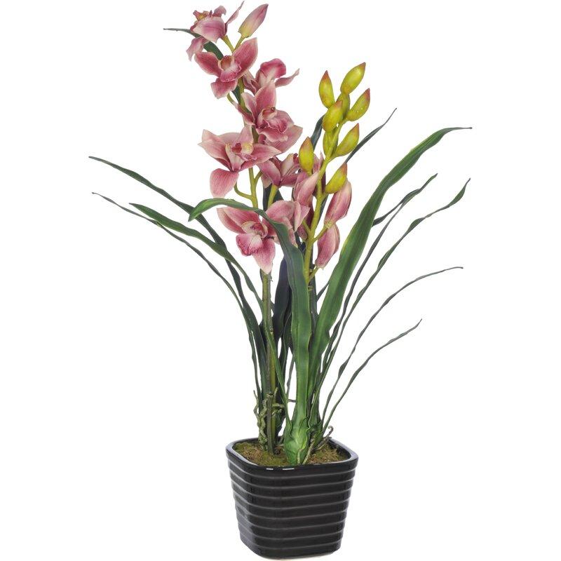 House Of Silk Flowers Faux Fuchsia Cymbidium Orchid Flower In Vase
