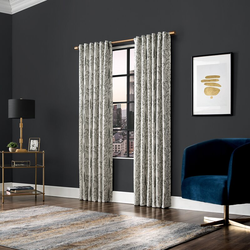 Scott Living Aubry Shimmering Floral Max Blackout Thermal Tab Top Single Curtain Panel Reviews Wayfair
