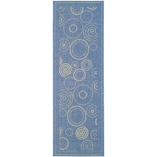 Mullen Circle Blue & Natural Indoor/Outdoor Area Rug