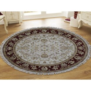 One Of A Kind Kimbrell All Over Rajasthan Hand Knotted Runner Round 8 Silk Beige Red Area Rug