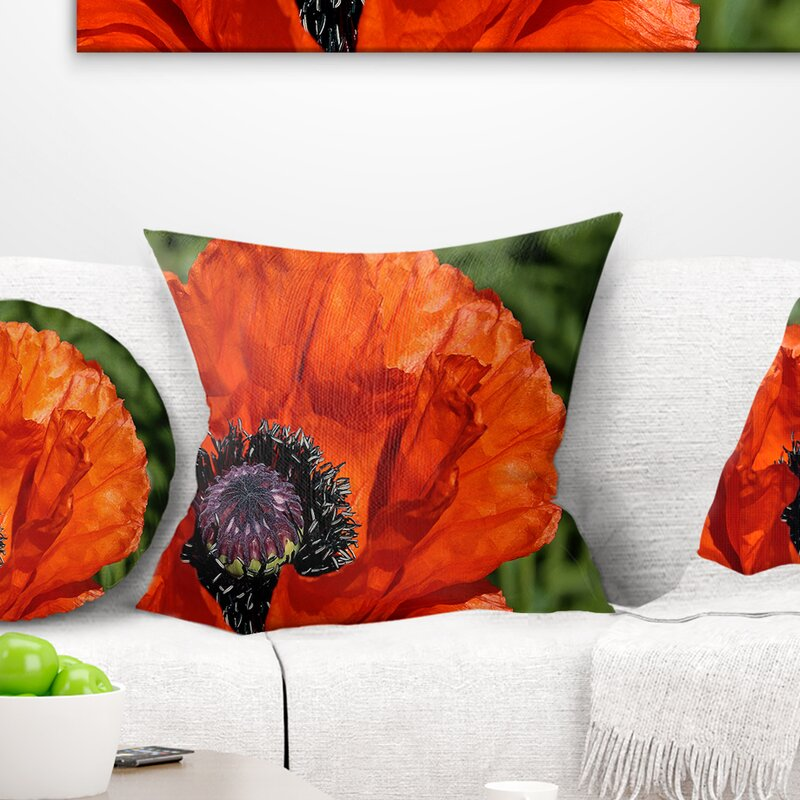 East Urban Home Floral Close Up View Of Poppy Flower Throw Pillow Wayfair