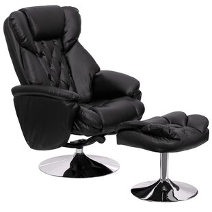 Krystin Leather Manual Swivel Recliner with Ottoman by Latitude Run