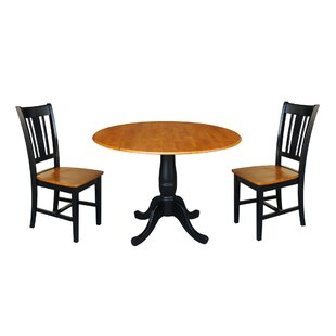 Spohn Round Top Pedestal Extending 3 Piece Drop Leaf Solid Wood Dining Set