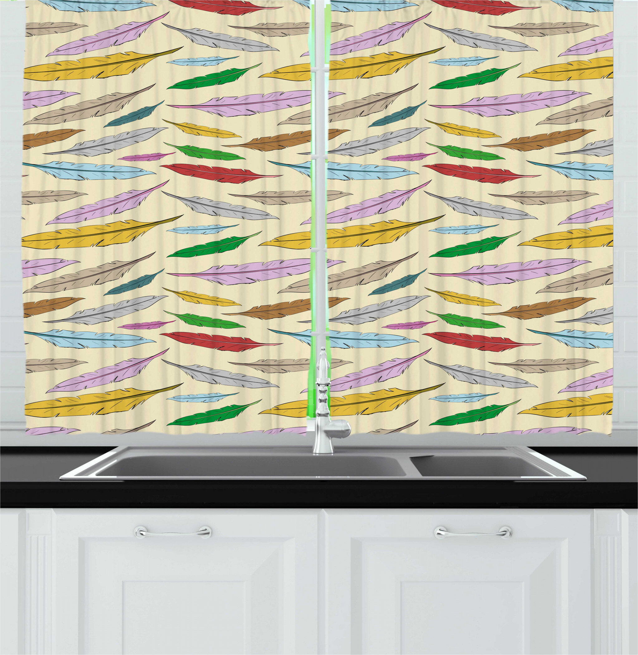 East Urban Home Retro Cartoon Style Colorful Feathers Floating Bohemian Elements Kitchen Curtain Wayfair