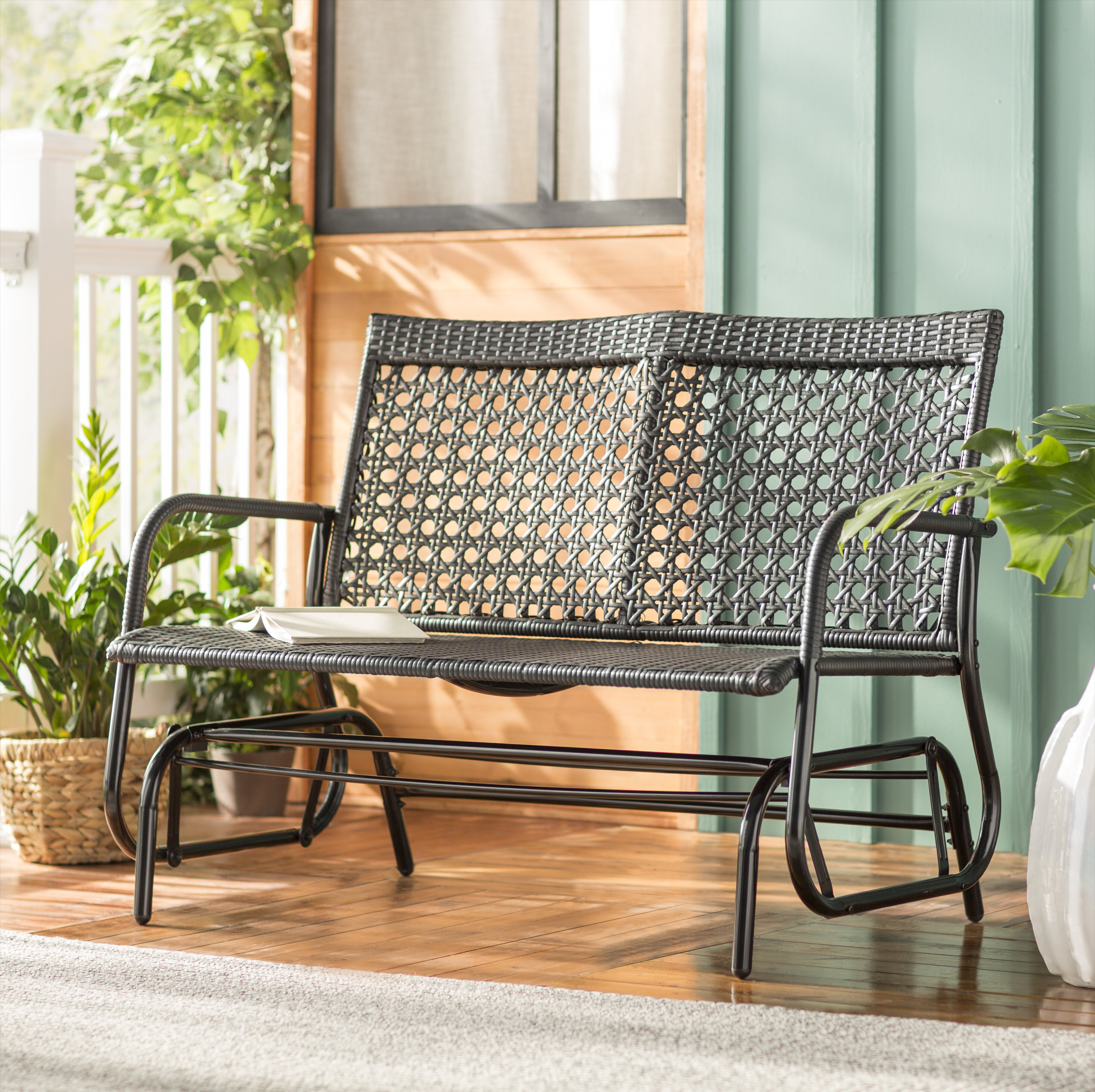Super Shupe Steel Rattan Outdoor Patio Double Glider Bench Short Links Chair Design For Home Short Linksinfo