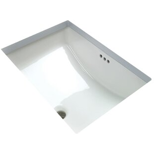 Clearance Vitreous China Rectangular Undermount Bathroom Sink with Overflow By Miseno