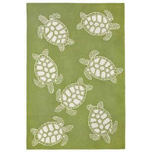 Claycomb Turtle Hand-Tufted Green Indoor/Outdoor Area Rug