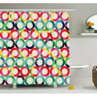 Geometric Circle Vibrant Style Circular Forms Retro Spots Artsy Fashion Hipster Design Shower Curtain Set