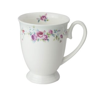 Montague Rose Pedestal Bone China Coffee Mug (Set of 4)