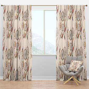 Designart Mid Century Botanical Retro Iv Floral Semi Sheer Thermal Rod Pocket Curtain Panels