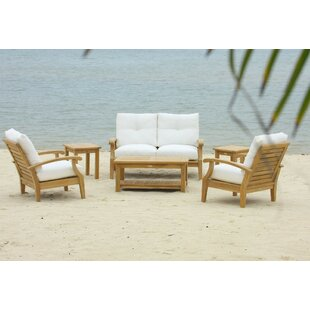 Cayman 7 Piece Teak Sofa Seating Group with Sunbrella Cushions By Douglas Nance