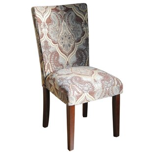 Charlton Home Bower Upholstered Damask Parsons Chair (Set of 2)
