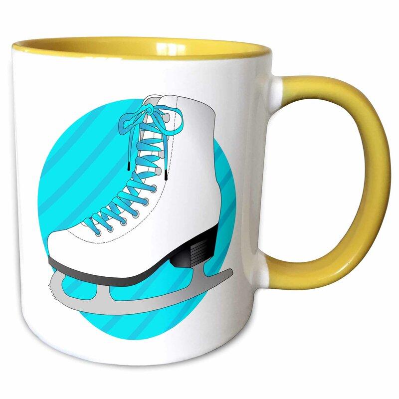 Symple Stuff Leija Figure Skating Gifts Ice Skate On Stripes Coffee Mug Wayfair