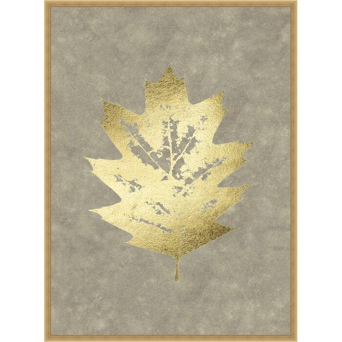 Ashton Wall Décor LLC Trends \'Gold Foil Leaf I on Lichen Wash ...