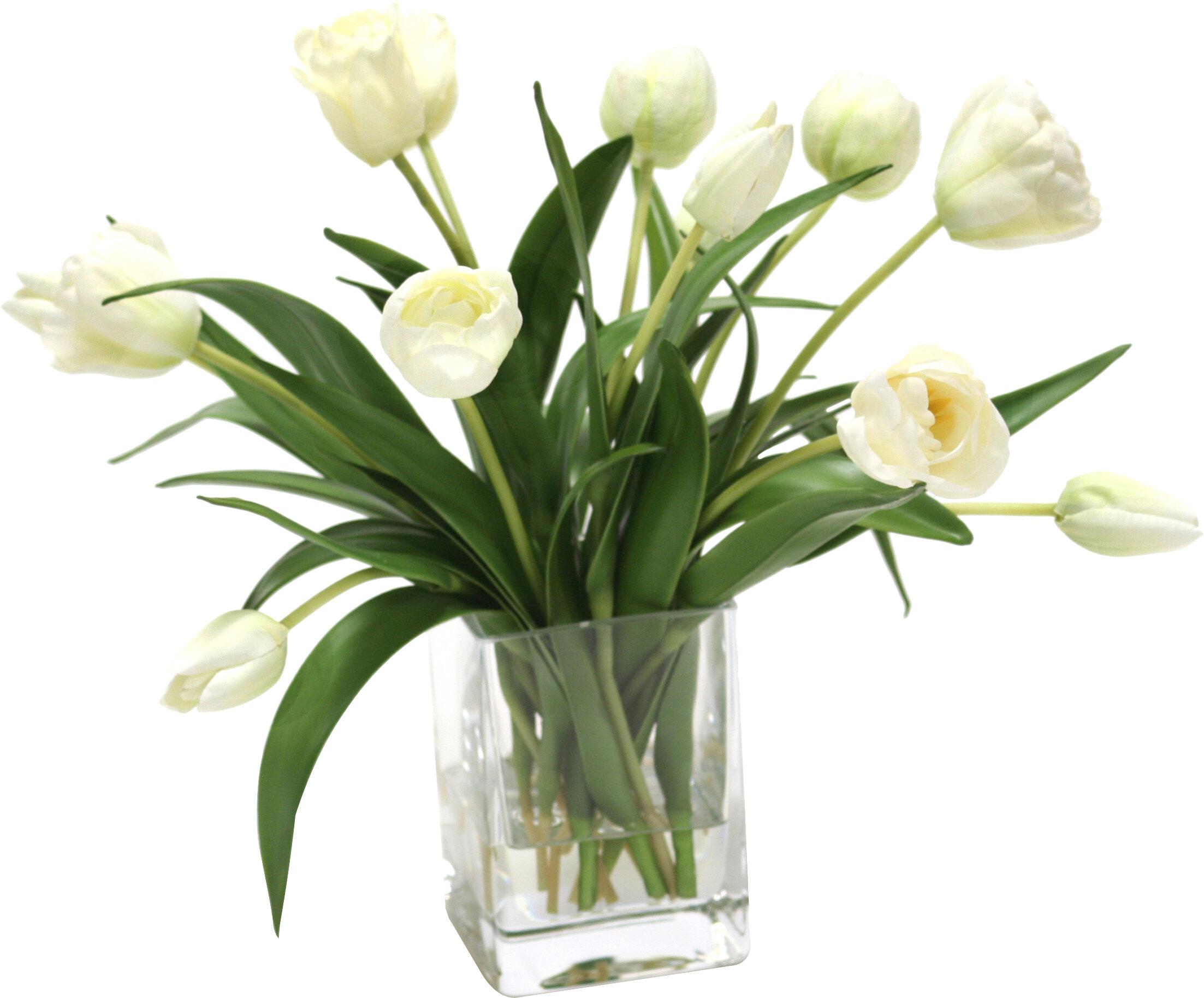 204 & Elegant Tulips Floral Arrangements in Glass Vase