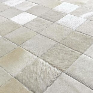 Beekman Patchwork Hand-Woven Cowhide Off White Area Rug By Foundry Select