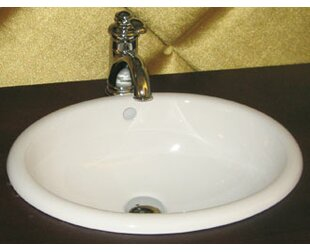 Ronbow Ceramic Circular Drop-In Bathroom Sink with Overflow
