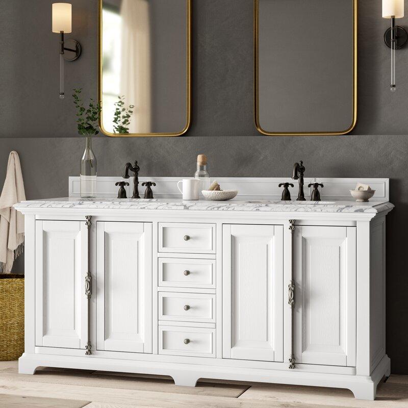 Greyleigh Ogallala 72 Double Cottage White Granite Top Bathroom