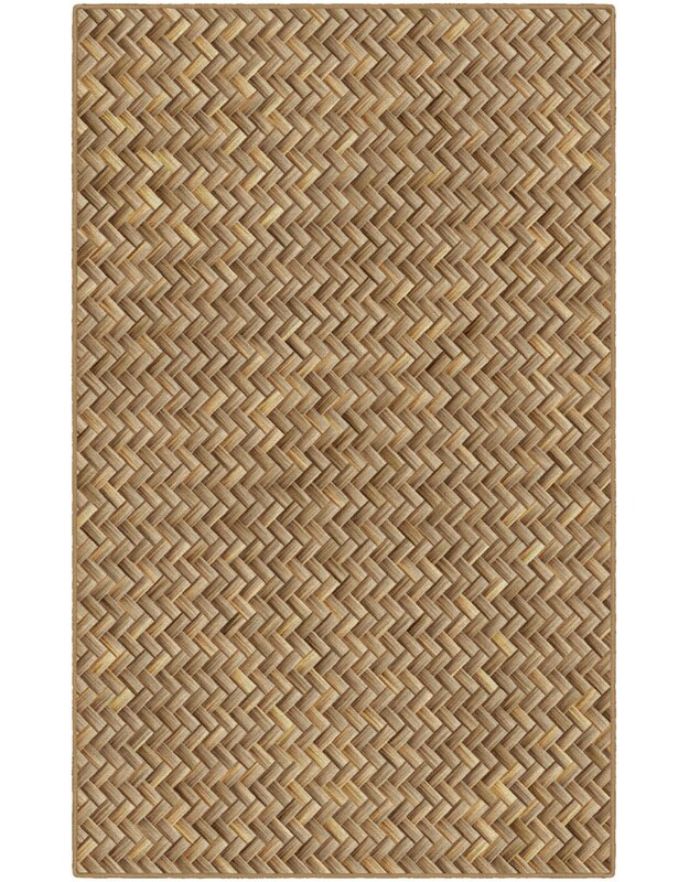 Bay Isle Home Powell Basket Weave Tan Area Rug, Size: Rectangle 76 x 10