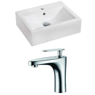 Compare prices Ceramic 20 Wall-Mount Bathroom Sink with Faucet and Overflow ByRoyal Purple Bath Kitchen