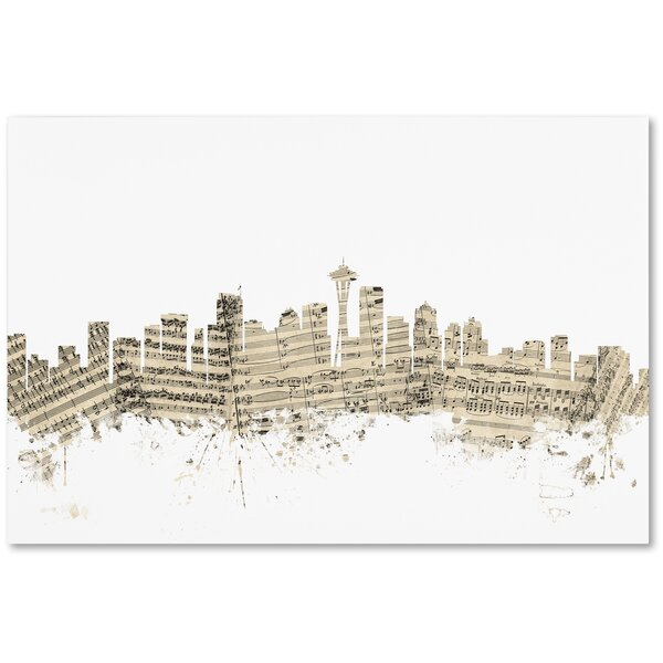 Trademark Art Seattle Washington Skyline Sheet Music Graphic Art On Wrapped Canvas Wayfair