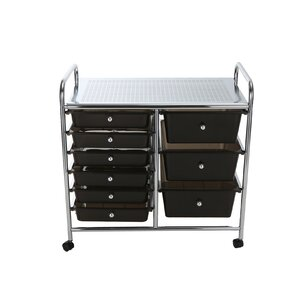 Metal Binding 9 Double Drawer Rolling Storage Chest