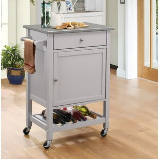 Rodger Kitchen Cart with Stainless Steel Top