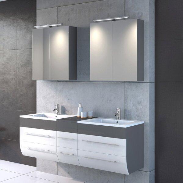 bad11 150 cm wandmontierter waschtisch f r doppelbecken zamora mit spiegel und armatur. Black Bedroom Furniture Sets. Home Design Ideas