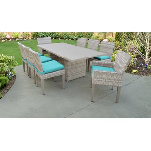 TK Classics Fairmont 9 Piece Outdoor Patio Dining Set with Cushions