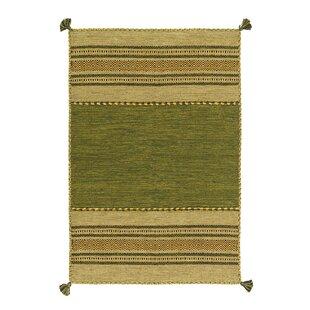 Navarro Handwoven Flatweave Cotton Green Rug by Kayoom