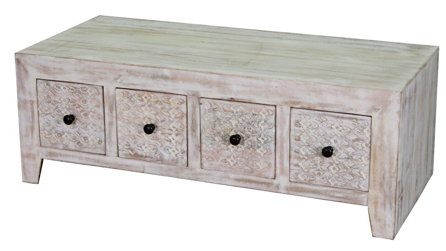 Balabak 8 Drawer Mango Wood Coffee Table With Storage