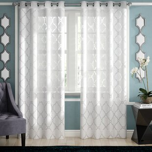 Breckenridge Geometric Sheer Grommet Single Curtain Panel by Willa Arlo Interiors