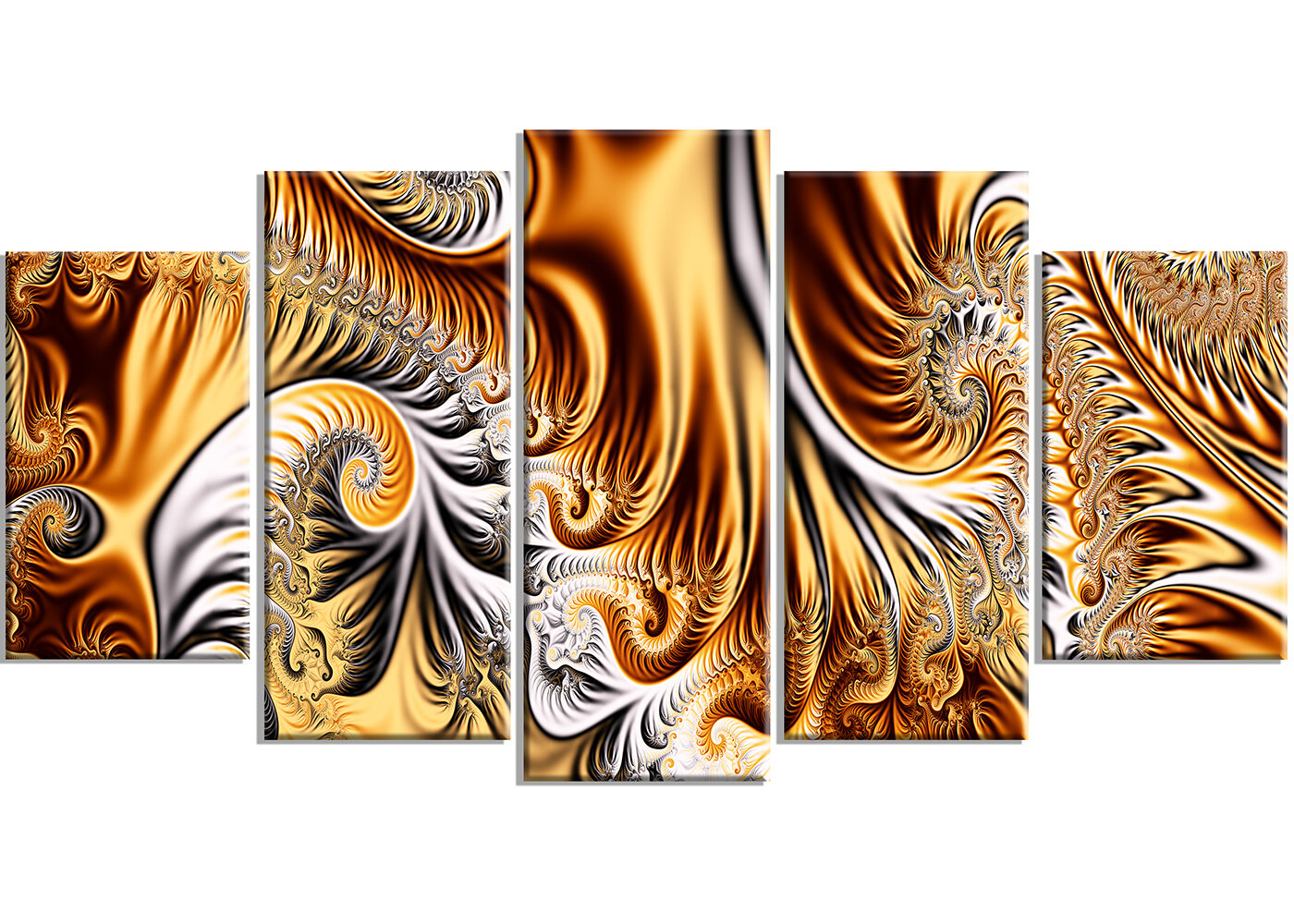 Designart Gold Silver Ribbons 5 Piece Graphic Art On Wrapped Canvas Set Wayfair