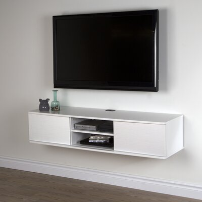 "South Shore Agora 56/"" Wall Mounted Media Console in Chocolate"