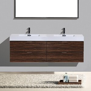 double bathroom vanity. Tenafly Wall Mount 72  Double Modern Bathroom Vanity Set Vanities AllModern
