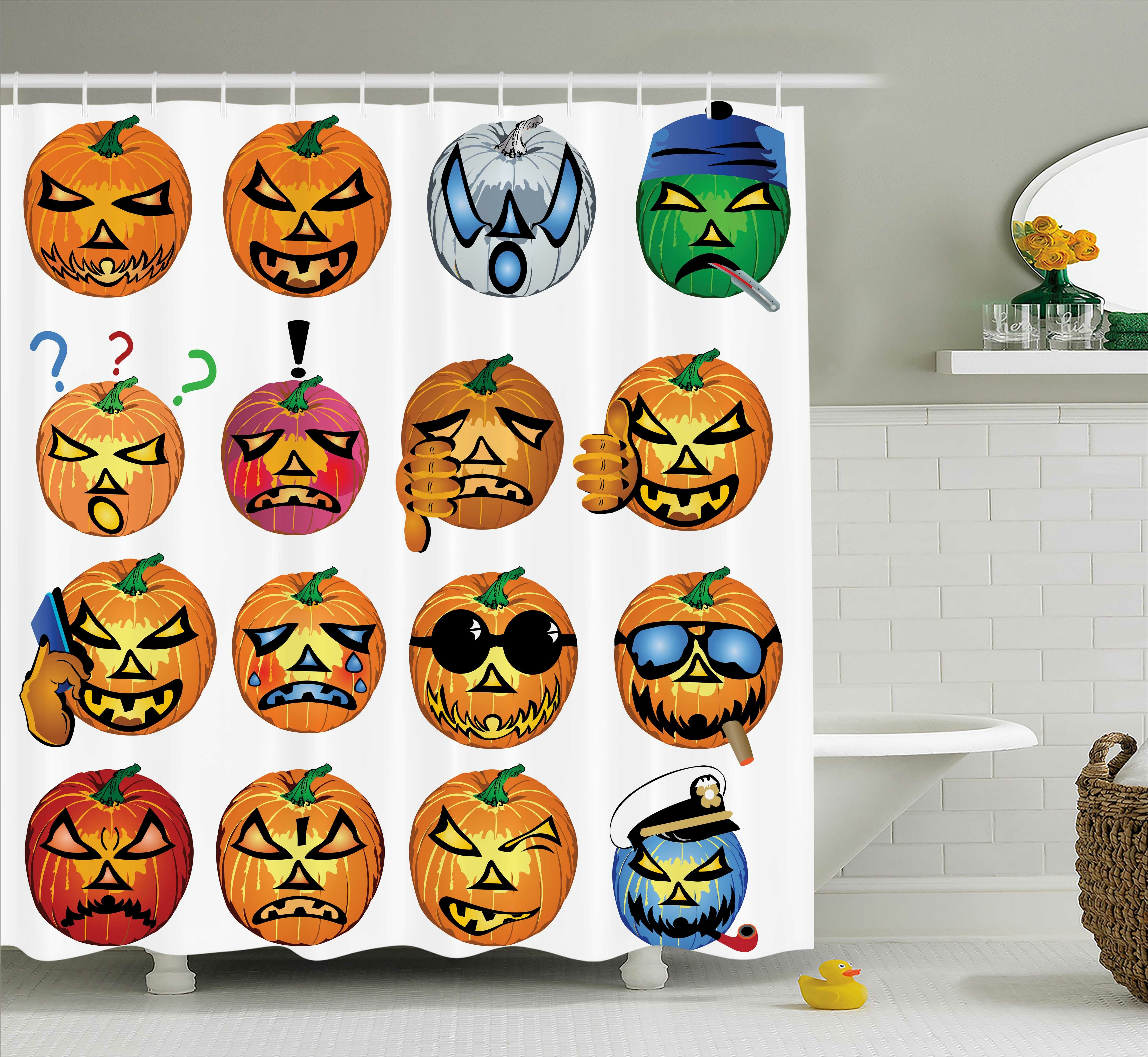 The Holiday Aisle Halloween Decor Pumpkin Emoji Shower Curtain