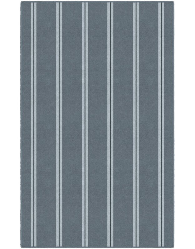 Highland Dunes Norma Traditional Vertical Striped Blue Area Rug, Size: Rectangle 76 x 10