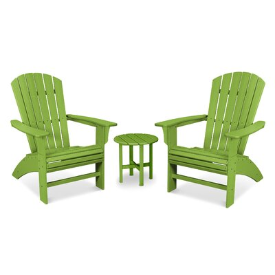 Trex Outdoor Yacht Club Curved Back 3 Piece Seating Group Frame Finish: Lime