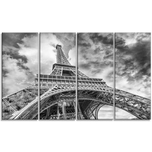 U0027Black And White View Of Paris Eiffel Toweru0027 4 Piece Wall Art On Wrapped  Canvas Set