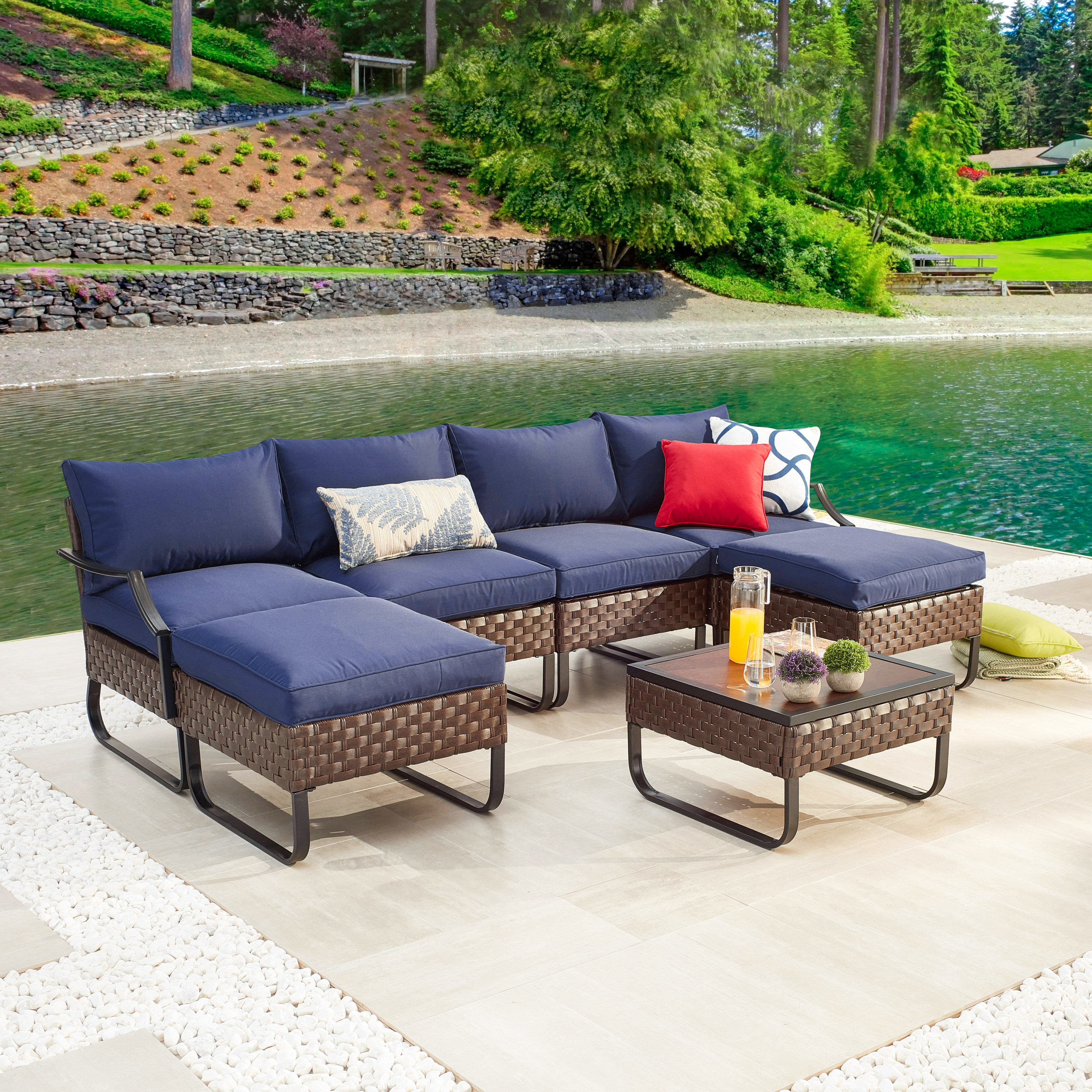 Red Barrel Studio Maniteau Outdoor 7 Piece Sofa Seating Group With Cushions Wayfair