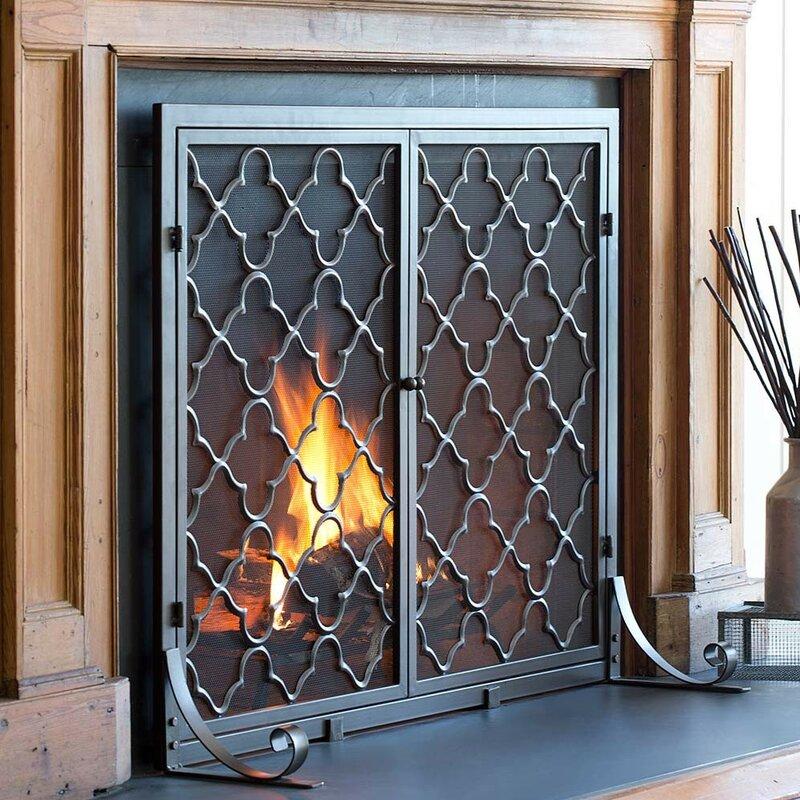 Plow & Hearth Geometric Single Panel Steel Fireplace Screen ...