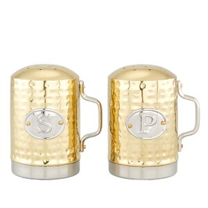 Hammered Du00e9cor Champagne Stovetop Salt & Pepper Set