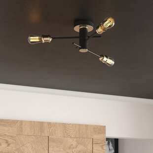 Wolfgram 3-Light Semi Flush Mount by Mercury Row