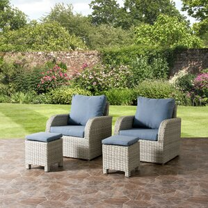 Killingworth Patio Weather Resistant Resin Wicker 4 Piece Deep Seating  Group With Cushions